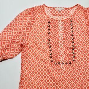 41 Hawthron Orange Studded Sheer Blouse